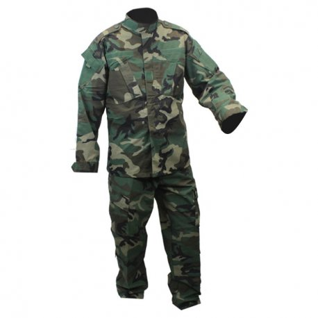 Combat Uniform - 2 Piece Set - Pants and Jacket - Woodland